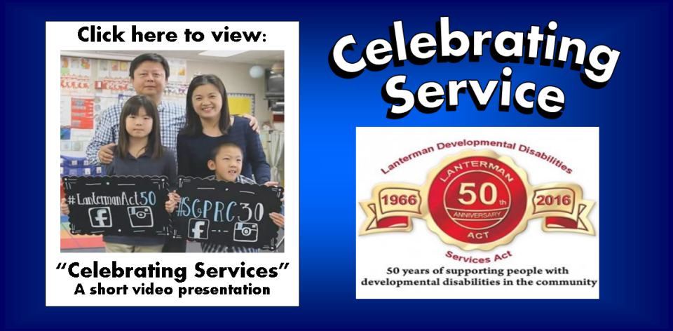 picture of asian family with a link to a video and the 50th anniversary lanterman act logo