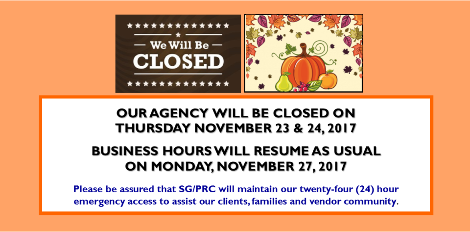 OFFICE CLOSURE - THANKSGIVING 2017