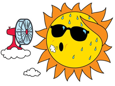hot sun weather with fan blowing